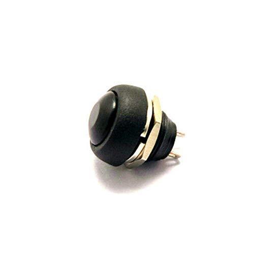 Interruptor Botón pulsador momentáneo para el hogar Accesorios pequeños Interruptor de botón de bocina de reinicio redondo (Color: Negro)