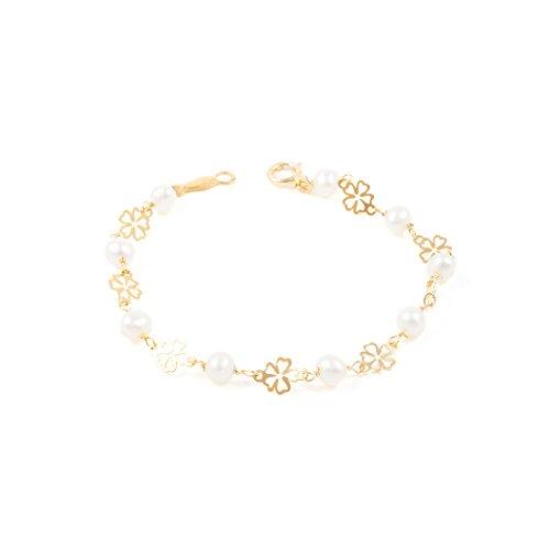Pulsera bebe o niña oro flor calada con perlas