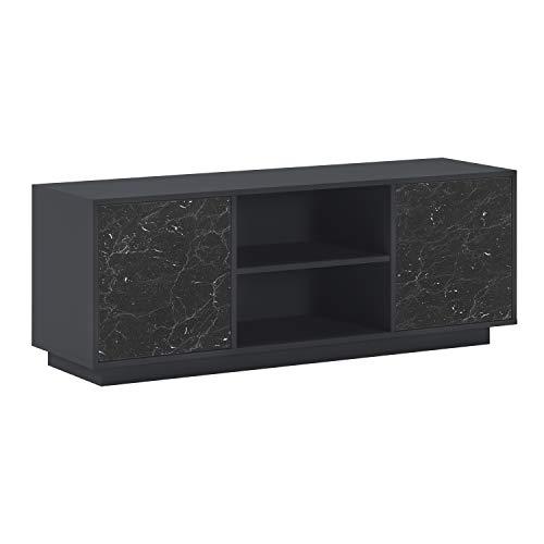 SelectionHome - Mueble TV con 2 Puertas para Salón, Comedor, Modelo Solid, Color Estructura Gris Oscuro y Puertas Marmol Negro Mate, Medidas: 137 cm (Ancho) x 40 cm (Fondo) x 51 cm (Alto)