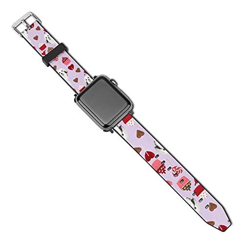 La última correa de reloj de estilo compatible con Apple Watch Band 38 mm 40 mm Correa de repuesto para iWatch Series 5/4/3/2/1, Havanese Valentines Day Love Cupcakes Corazones, color morado