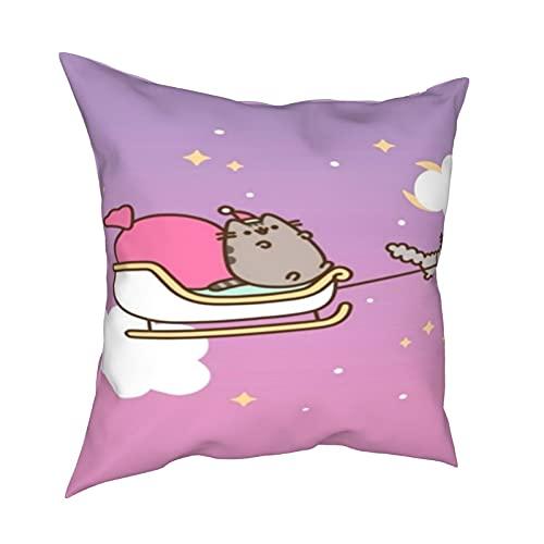 Federa per cuscino con stella e luna, con motivo a gatto, decorazione per la casa, con cerniera, per letto e divano