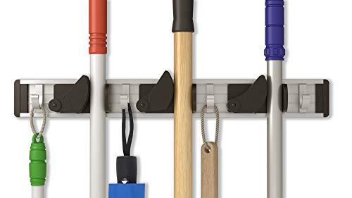 Portascope da Muro in Alluminio - Appendiscope da Muro - Porta Scope con 3 Supporti e 4 Ganci - Organizer da Parete per Cucina Cantina Garage Giardino