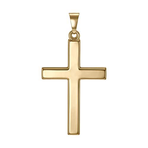 IDENTIM Herren Kreuz Anhänger 585 Gold (OHNE Kette) Kreuzanhänger großes Kreuz schlicht glänzend 14 Karat Goldkreuz Echtgold 94756