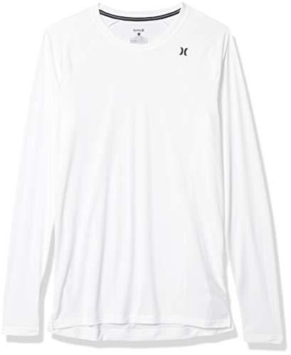 Hurley Men's Quick Dry Long-Sleeve T-Shirt Rash-Guard, White, M