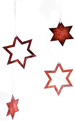 Rostikal | rostige Deko Sterne, Weihanchtsdeko zum Hängen, Roststern Metall Edelrost | 2er Set