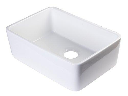 ALFI brand AB503 23-Inch  Fireclay Single Bowl Farmhouse Kitchen Sink, White