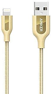 Anker PowerLine+ Lightning Cable (3ft) with Pouch, Nylon Braided Charging Cable for iPhone X / 8/8 Plus / 7/7 Plus / 6/6 Plus / 5s iPhone/iPad and More (Golden)