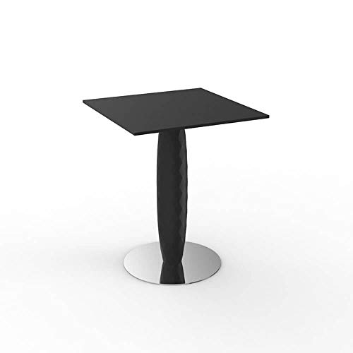 Vondom Vases table avec base inox et surface carrée HPL 70x 70 cm noir