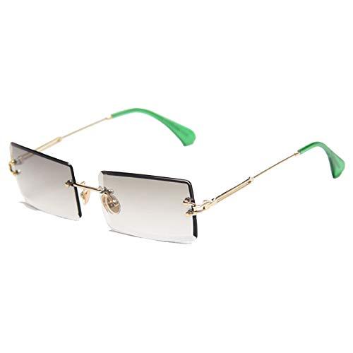 JOEYFAYE Gafas de sol retro para mujer, gafas de sol cuadradas sin montura, lentes de sol degradados, protección UV, montura de metal, aptas para viajes fotográficos.