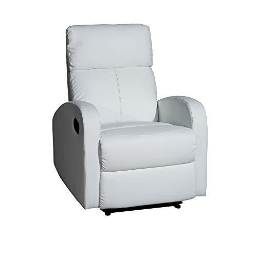 MOMMA HOME Sillón Relax reclinable Med - Modelo TAVIRA - Color Blanco - Material Ecopiel/Metal - Medidas 71 x 93 x 101 cm