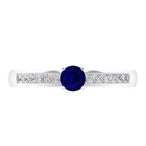 Anillo de zafiro azul y diamante, anillo solitario de oro con piedras laterales (diamante de corte princesa de 1,50 x 1,50 mm, zafiro azul de 4 mm), oro de 14 quilates, Metal, Diamond Blue Sapphire,