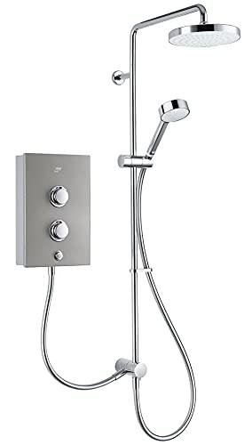 Mira Decor Dual Plastic Manual Dial Control Single-Spray Pattern Silver Effect Electric Shower (Dep: 97.4mm H: 332mm W: 220mm, 4.3kg), 10.8kW
