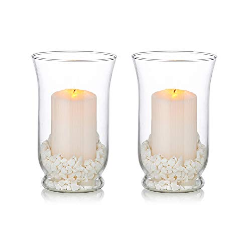 Glass Pillar Candle Holders for 3 x 6 Inches Candle, 2 Pcs Hurricane Candle Holder, Wedding Christmas, Halloween Centerpieces for Reception Tables for Home Dining Room Decor