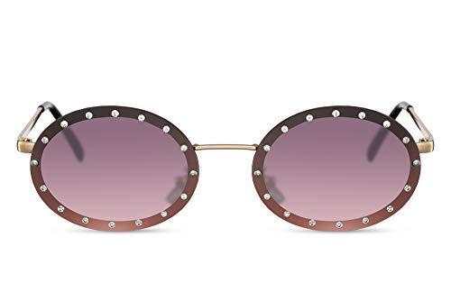 Cheapass Gafas de Sol Doradas Metal Ovaladas Morado a Rosa Lentes con Diamantes Estrellas Protección UV400 Mujeres
