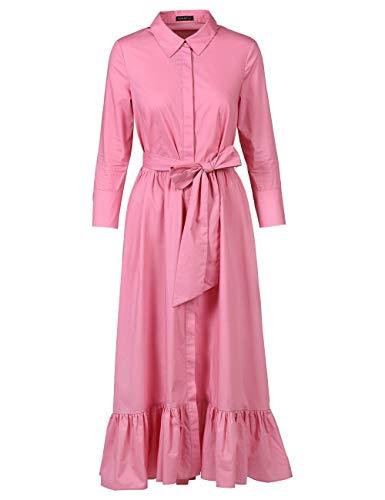 APART, stylishes Damen Kleid, Maxikleid, Oberteil im Hemdblusen-Stil, Rockpart angekräuselt, mit breitem Volant-Saum, der vorn etwas kürzer geschnitten ist, hinten lang, Farbton: Rosé, Rose, 34