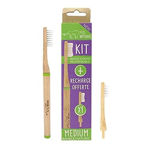 kit Brosse à dents tête rechargeable + 1 tête rechargeable Feel Natural - Medium