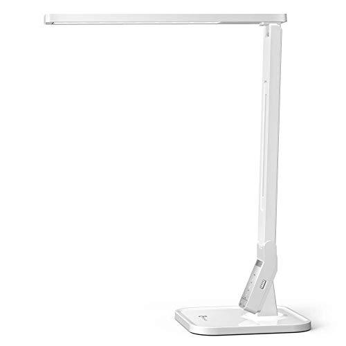 TaoTronics Lámpara Escritorio Usb LED,Flexo de Escritorio (4 Modos, 5 Niveles de Brillo, USB 5v/1A para cargar, Temporizador de 60min) para Leer, Estudiar, Cuidado de ojos, Color Blanco