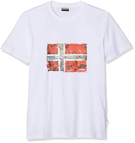 Napapijri Seitem Camiseta, Blanco (Bright White 002), Large para Hombre