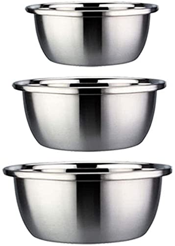 HMY 3-piece mixing bowl set, chrome steel kitchen stacking bowl, used for cooking, baking truffles, adorning pastries and making meals, (Size : 24+26+28cm)