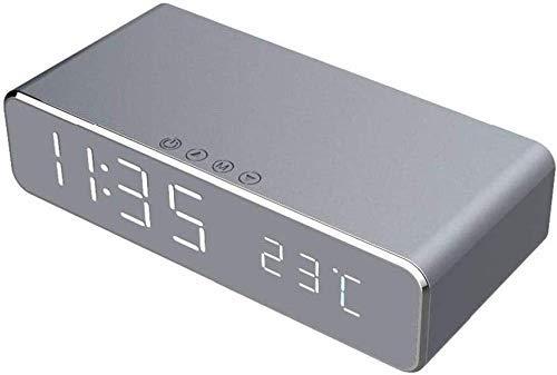 TEHWDE Wireless Charging wekker Tijd Temperatuurweergave LED-bureau en tafelblad met telefoon Wireless Charger HD-spiegel met tijdgeheugen