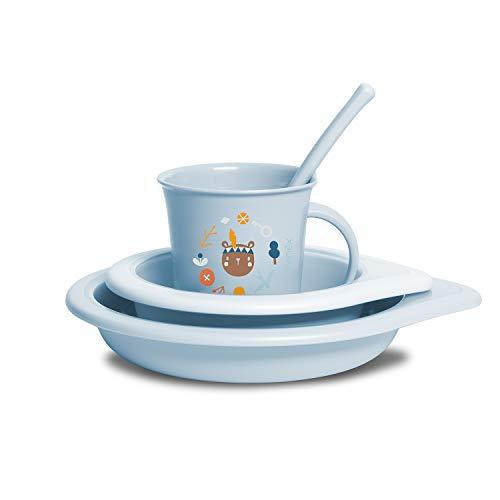 Suavinex 307435 Juego de destete Boy de 6 meses. Plato hondo + Cuenco + Taza + Cuchara. Lavable en lavavajillas y se puede usar en el microondas, 4 piezas, color azul – 300 g