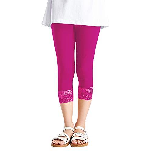 L&K Libella Mädchen 3/4 Sommer Leggings mit Spitzen Capri-Leggings 27250 Rosa