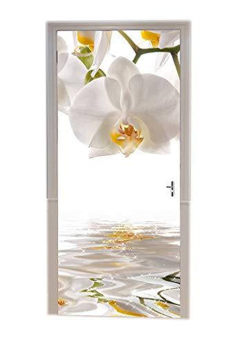 A.Monamour Pegatinas Decorativas de Puerta Autoadhesivo 3D Orquídeas Blancas Flores En El Agua Meditación Zen Vinilo para Puertas Mural PVC Pegatinas de Pared Foto Poster 77 x 200 cm