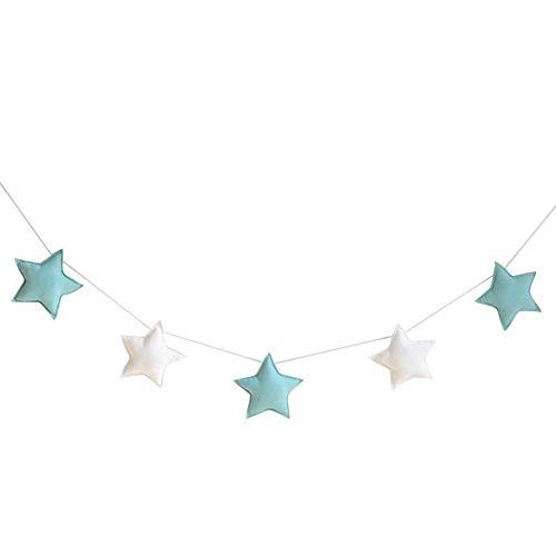 WopenJucy Nordic - 5 adornos para colgar con diseño de estrellas, banderines para fiestas infantiles, decoración para habitación de bebé, niños o niñas, tela, Green + White