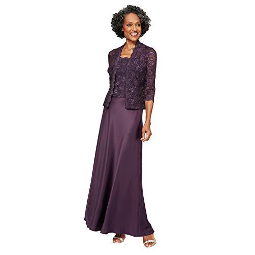 Alex Evenings Women's Long Mock Jacket Dress with Satin Skirt, Eggplant, 14