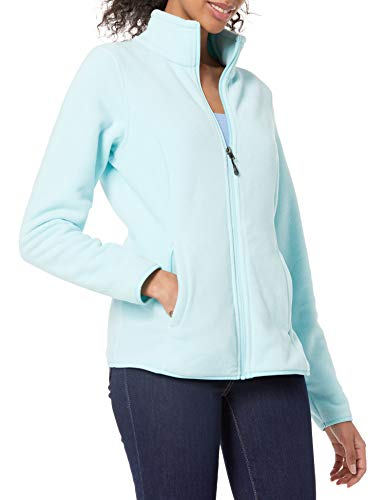 Amazon Essentials Women's Classic Fit Long-Sleeve Full-Zip Polar Soft Fleece Jacket, Aqua, Medium