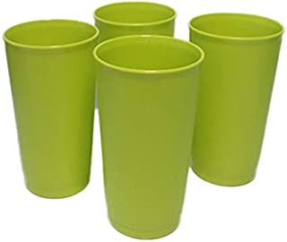 Vintage Style Tupperware 12 oz Stacking Textured Tumblers Green Set of 4