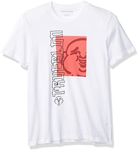 True Religion Men's Buddha Logo Short Sleeve Crewneck Tee, White, X-Large