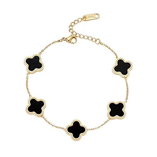 """Dainty 6"""" adjustable 18k gold plated designer inspired clover charm bracelet (Black)"""