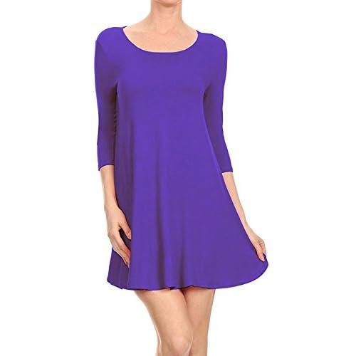 84e29e552a92 HOT HANGER Womens Long Sleeve Scoop Neck Skater Dress UK 8-28