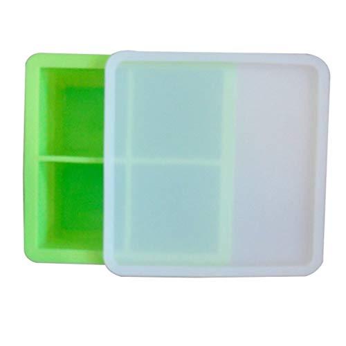 CandyTT Cubo de Hielo de Silicona Creativo de Cuatro Rejillas con Tapa Cubo de Hielo Grande Cuadrado de 4.8 cm Cubo de Hielo de Silicona Creativo con Tapa (Verde)