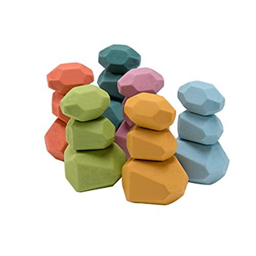 LUBINGT Balanciersteine Holz Stapeln Spielzeug Kinder Holz Pädagogische Spielzeug Stapeln Spiel Farbe Jenga Bausteine Ins Nordic Style Rainbow Stone DIY Montessori Spiel (Color : 18pcs Set 2)