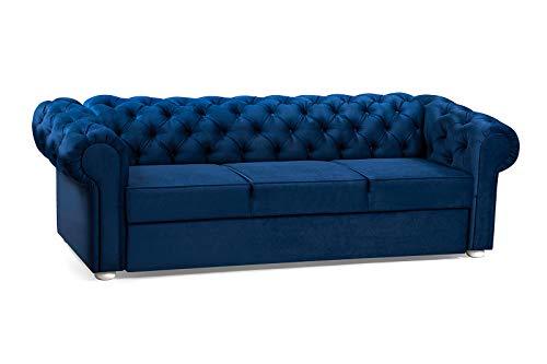 3-Sitzer 3er Chesterfield Sofa mit Schlaffunktion Schlafsofa Couch für Wohnzimmer Sofagarnitur Couchgarnitur Büro Wohnlandschaft Federkern Vintage Design Avia (Dunkelblau)