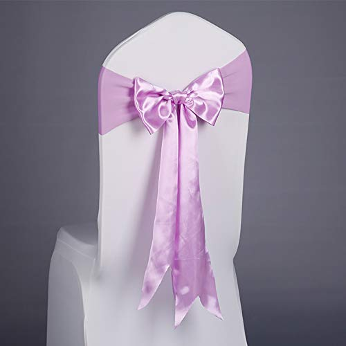 EZUO 50Pcs Stretch Wedding Chair Bound with Elastic Stretch Decoration with Bowknot (Violet)