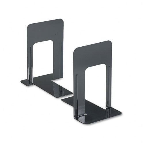 Universal : Jumbo Deluxe Bookends w/Nonskid Padded Base, 5-7/8 x 8-1/4 x 9, Metal, Black -:- Sold as 2 Packs of - 2 - / - Total of 4 Each