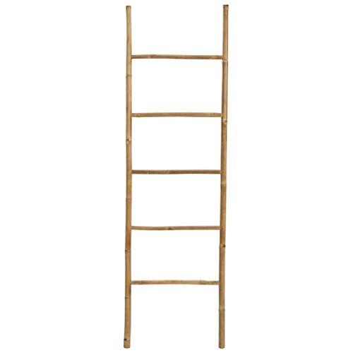 Tidyard Handtuchleiter Handtuchständer Leiter Handtuchhalter Regal mit 5Stangen, super eleganter Kleiderständer für Badezimmer Wohnzimmer, Bambus/Natur