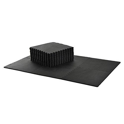 HOMCOM Tapis en Mousse de Protection Sol Tapis de Fitness 62 cm x 62 cm x 1 cm avec Bordures Tapis Puzzle 25 pièces 9,3 m² de Surface Noir