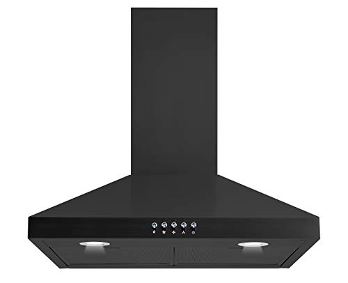 Winflo 30 In. Convertible Wall Mount Range Hood in Black with Black Mesh Filters and Push Button Control