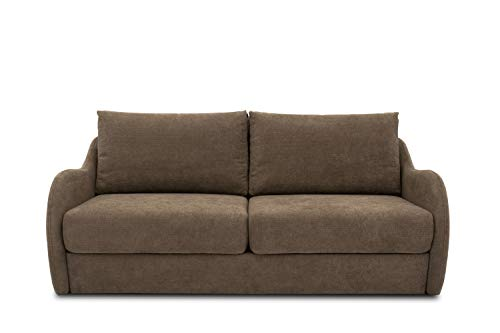 DOMO. Collection Sofa Echo, 2-Sitzer mit Hocker, Polstermöbel 180cm Sitzbreite, Funktionssofa, 204x107x96 cm, Couch in beige (taupe)