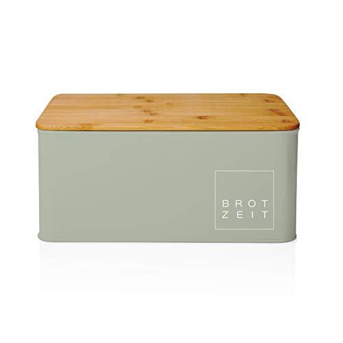 Lumaland Cuisine Brotkasten aus Metall mit Bambus Deckel rechteckig 30,5 x 23 x 14 cm - in 9 Farben - Brotbox, Brotaufbewahrung mit 2in1 Bambusdeckel + Schneidebrett - Mintgrün