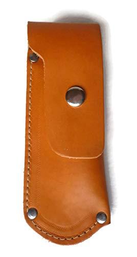 Messeretui Leder, Messertasche groß 12-14cm aus Rindleder für Taschenmesser, in 2 Farben Natur und Schwarz, mit Gürtelschlaufe und Druckknopfverschluss (Natur)