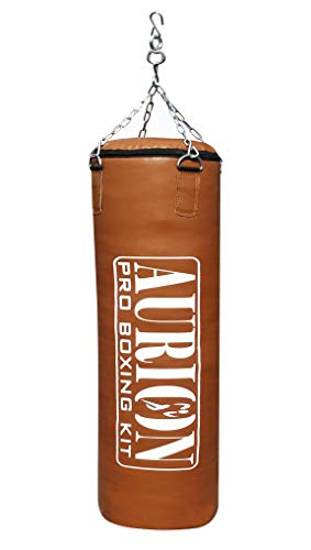 Aurion Filled Heavy Punch Bag 2 FEET Boxing MMA Sparring Punching Training Kickboxing Muay Thai with Hanging Chain (TAN (Brown) Filled 24 Inches (PU Leather))