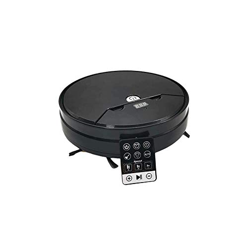 Wzdszuilsd Robot Inteligente Llena de Barrido Aspirador Barrido y Arrastrar Tiempo de Control del hogar del Tanque Sweeper Adecuado for Dormitorio/Oficina/Cocina (Color: Negro) (Color : Black)