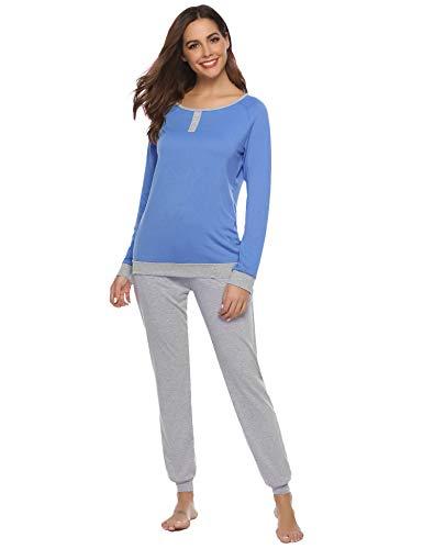 Aibrou Damen Zweiteiliges Pyjama Set, Lange Ärmel lose Schlafanzug mit Bündchen am Taille Blau S