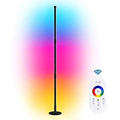 Huttoly Floor Lamp, Color Changing LED Standing Lamp,RGB Dimmable LED Floor Lamp, Wall Corner Floor Lamp,Remote Super Bright Modern Floor Lamp,Works with Remote Control