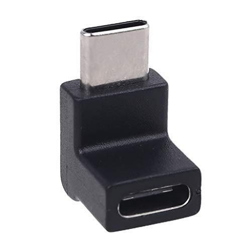 MENGSHI Adaptador convertidor USB 3.1 de ángulo recto de 90 grados tipo C macho a hembra USB C convertidor para teléfono móvil, tableta, portátil, cargador USB C, duradero y práctico